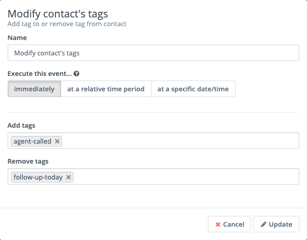 Mautic Campaign Action - Modify contacts tags